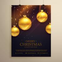 Kerst flyer viering sjabloon met gouden ballen