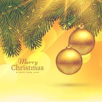 Festival Grußkartenvorlage Design mit hängenden goldenen Chris