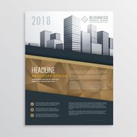 real estate brochure flyer template design with city buildings