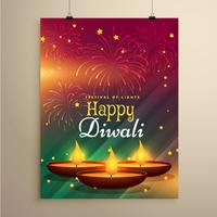 stilvolle Diwali Festival Flyer Vorlage mit drei realistischen Diya