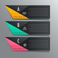 mörkt tema tre steg infografiska banderoller med företagsikoner