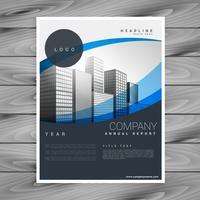 Blått vågigt elegant företags professionell broschyrdesign