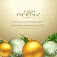 beautiful christmas festival greeting card design with xmas ball