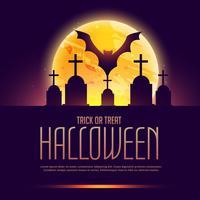Fondo espeluznante de halloween con tumba y murciélago