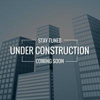 texto underconstruction com edifícios no fundo