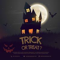 Halloween-Hintergrund mit Schloss und Mond