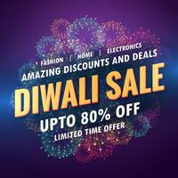 increíble banner de venta de diwali para tu tienda con fuegos artificiales