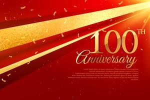 Plantilla de tarjeta de celebración de aniversario 100