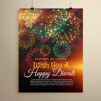 étonnant feu d'artifice du festival de diwali. Modèle de conception de flyer