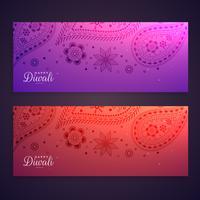 set van kleurrijke gelukkige diwali-banners