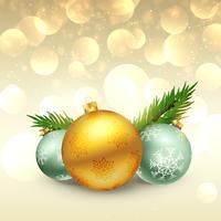 Hermoso festival de felicitación de navidad con bolas realistas.