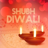 subh diwali background with diya in red color