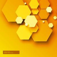 Fondo amarillo con formas hexagonales 3d