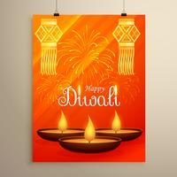 Diwali festival flyer diseño con diya, fuegos artificiales y la suspensión.