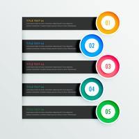 Banners de infografía elegantes con cinco pasos.