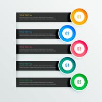 eleganta infografiska banderoller med fem steg