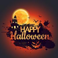 felice poster di halloween con castello raccapricciante
