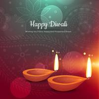 beautiful happy diwali diya greeting card