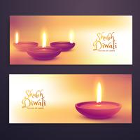 beautiful diwali season advertising banners set with realistic d