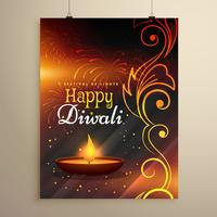 happy diwali wishes flyer design with diya and floral decoration