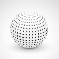 3d sphere made with black dots