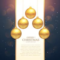 hängende goldene Weihnachtskugelfestival-Grußhintergrund