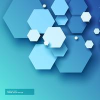 fundo azul com formas hexagonais em estilo 3d