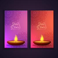 beautiful happy diwali vertical banners with glowing diya and ma