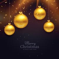 chriatmas festival celebration card design with golden balls dec