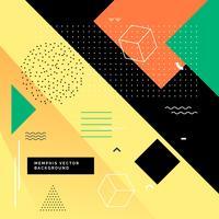färgglada memphis bakgrund med geometriska former