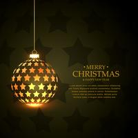 dourado pendurado bolas de natal brilhantes feitas com estrelas