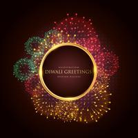 Cartel de banner festival de lujo diwali saludo con fuegos artificiales