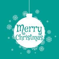 flache Kugel der frohen Weihnachten mit Schneeflocken