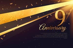 Modello di carta celebrazione 9 ° anniversario