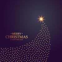 Diseño creativo del árbol de navidad hecho con puntos dorados.