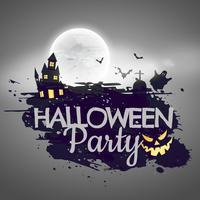 halloween party background with castle and moon