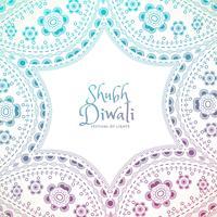 Hermosa decoración floral de paisley con texto de Shubh Diwali.