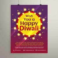 diwali festival wishes flyer invitation with lights bulbs in a c