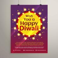 festival de diwali souhaite invitation flyer avec ampoules en ac