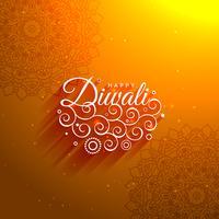 sfondo artistico diwali arancione felice impressionante con pat di mandala