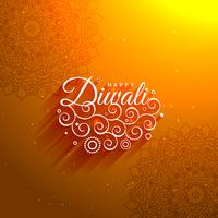 Fondo artístico de Diwali feliz naranja impresionante con Pat Mandala