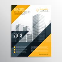 Plantilla de diseño de folleto de negocio amarillo y negro
