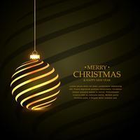 Fondo elegante del saludo del festival de la Feliz Navidad con de oro