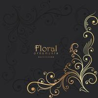 fundo escuro com elemento floral dourado