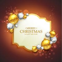 Elegante plantilla de saludo festivo de feliz navidad con christma