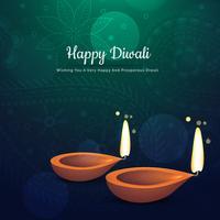 mooie diwali festival diya achtergrond met twee diya