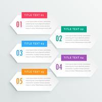 modèle de présentation cinq étapes infographie blanc propre