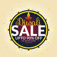 diwali festival sale banner with light bulbs in circle