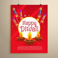 happy diwali festival greeting card invitation template design