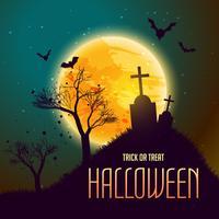 Halloween-Hintergrund mit Grab in vom Mond